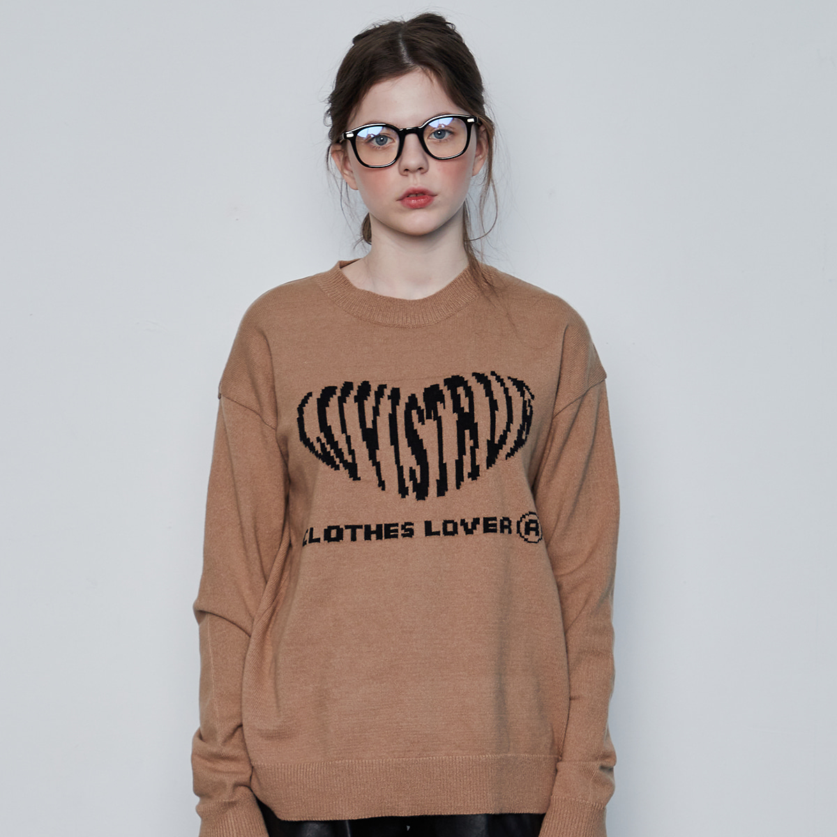 IN HEART KNIT(BROWN)